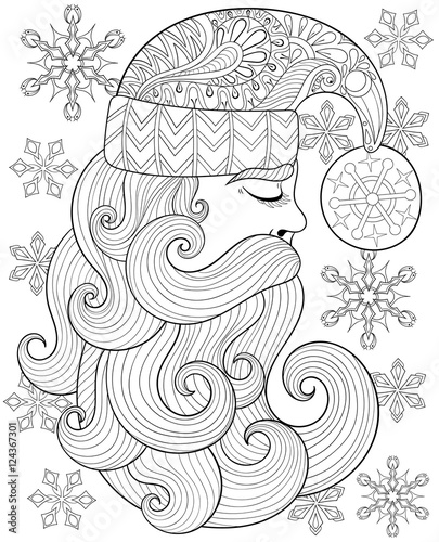 vector zentangle santa claus for adult antistress coloring pages