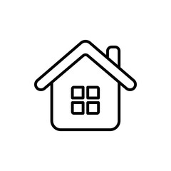 home house blue white thin line outline white black vector icon