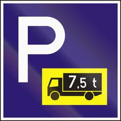Fototapeta Road sign used in Hungary - Parking for lorries obraz