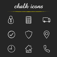 Delivery service chalk icons set
