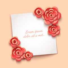 Paper flowers decoration on white paper sheet. Eps10 vector romantic background.