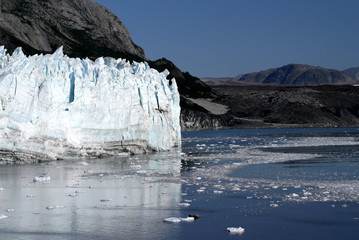 the icebergs of Margerie Glacier on a sunny day in Glacier Bay, Alaska