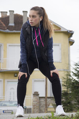 Young woman exercise prior to running