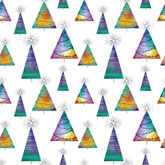 Seamless christmas pattern with watercolor vector trees and hand-drawn elements on white background. Colofrul endless