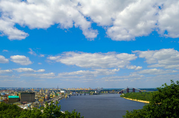View of Kiev, Ukraine. Banks of the Dnieper river.