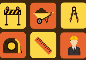 9 Square Construction and Architecture Icons