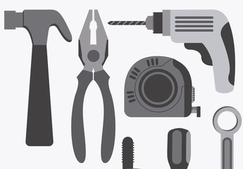 12 Large Grayscale Tool Icons