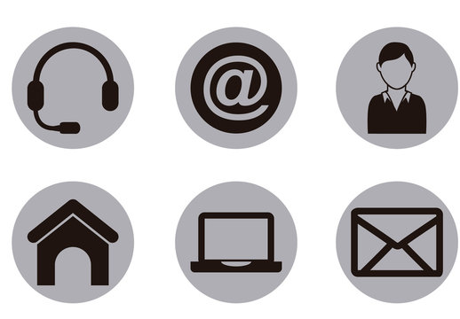 9 Circular Grayscale Web and Communications Icons