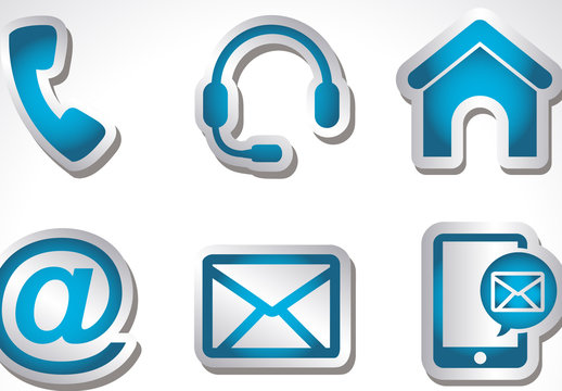 9 Shaded Cut-Out Web and Communications Icons