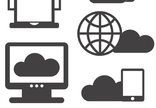 5 Large Cloud Storage Silhouette Icons