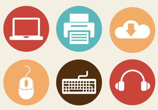 9 Circular Web and Computing Icons