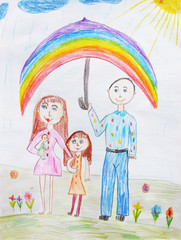 Child's drawing a happy family