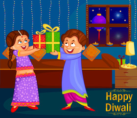 Kids with gifts celebrating Diwali festival of India