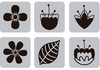 9 Square Grayscale Tropical Flower and Leaf Icons
