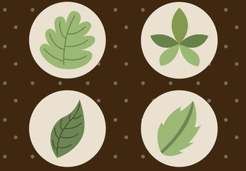 6 Circular Leaf and Stalk Icons on a Polka Dot Background