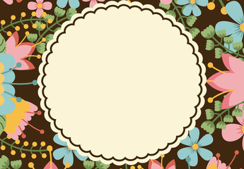 Scalloped Circle with a Tropical Plant Border