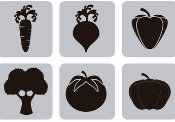 9 Square Grayscale Vegetable Icons