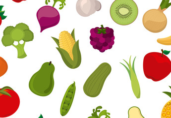Fruit and Vegetable Icon Pattern