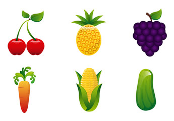 9 Assorted Fruit and Vegetable Icons