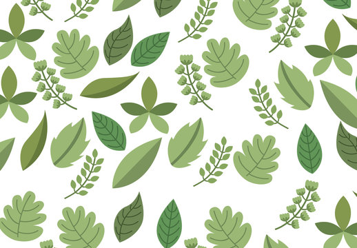 Leaf and Stalk Icon Pattern