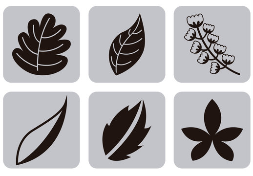 9 Square Grayscale Leaf and Stalk Icons