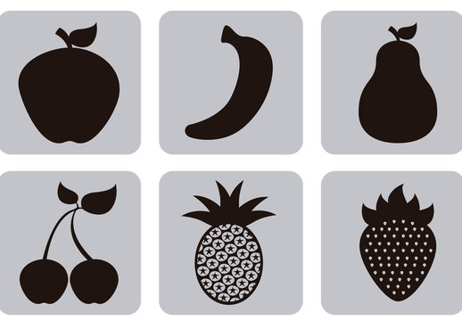 9 Square Grayscale Assorted Fruit Icons
