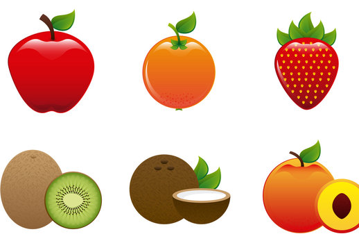9 Assorted Whole and Sliced Fruit and Vegetable Icons