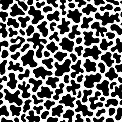 Vector monochrome seamless pattern, black chaotic spots. Abstract endless texture of animal skin, camouflage background. Design element for fabric, prints, cloth, textile, wrapping, cover, decoration