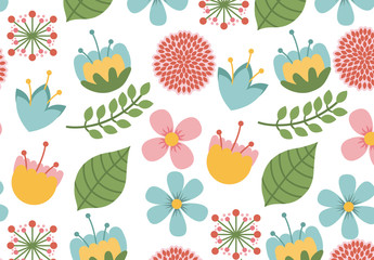 Leaf, Stalk, and Tropical Flower Icons Pattern
