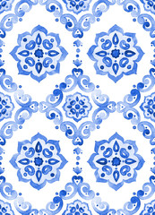 Watercolor royal blue filigree seamless pattern
