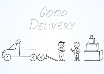 """Hand drawn vector illustration, delivery men with truck and satisfied customer with boxes. Handwritten inscription """"Good delivery"""". Picture about professional work and product transportation process"""