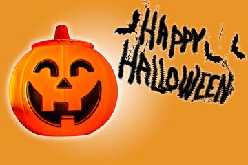 """Illustration pour affiche ou web avec une tête de citrouille, des chauve-souris et """"Happy Halloween"""""""