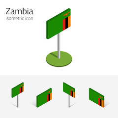 Zambian flag (Republic of Zambia), vector set of isometric flat icons, 3D style. African country flags. Editable design elements for banner, website, presentation, infographic, poster, map. Eps 10