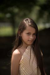 Portrait of mixed-race beautiful long hair girl wear Thai local
