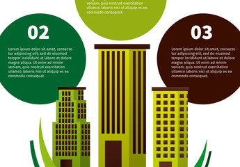 Circular Tab Ecology Infographic with Cityscape Illustration