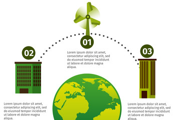 Global Ecology Data Infographic with Building and Turbine Icons 2
