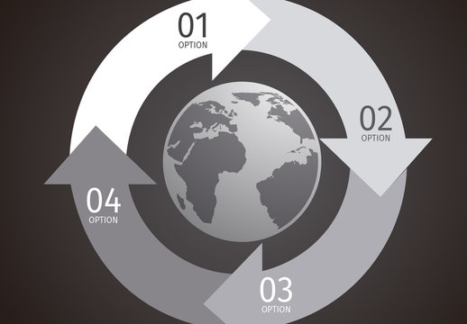 Grayscale Global Data Infographic with Circle of Arrows Element and Globe Icon