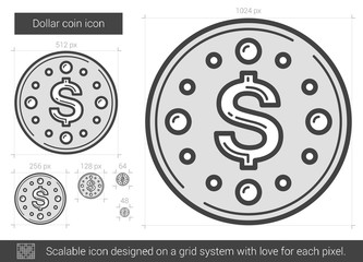 Dollar coin line icon.