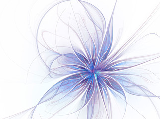 Fractal flower.Computer software generated digital image in white and blue. Blue flower on white background with big petals. Abstraction objects. Winter flower and snowflake concept