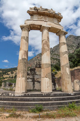 Frontal view Athena Pronaia Sanctuary at Ancient Greek archaeological site of Delphi, Central Greece