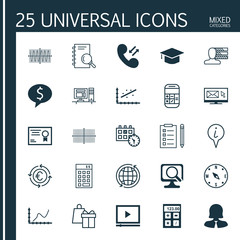Set Of 25 Universal Editable Icons For SEO, Statistics And Hr Topics. Includes Icons Such As Reminder, Investment, Appointment And More.
