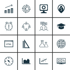 Set Of 16 Universal Editable Icons For Human Resources, Management And Statistics Topics. Includes Icons Such As Newsletter, Coding, Currency Recycle And More.