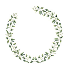 Watercolor floral border with eucalyptus leaves and flowers. Hand painted floral wreath with branches, leaves of eucalyptus isolated on white background. For design or background