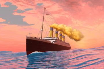 Titanic Passenger Liner - On the afternoon of the fateful day it sank the RMS Titanic cruises to its destiny with an iceberg.