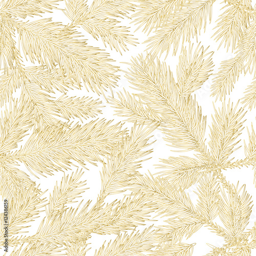 Vector Golden Fir Branches Seamless Pattern Gold And White Background With Outline Hand Drawn