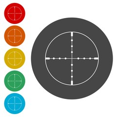 Crosshair with dot on white