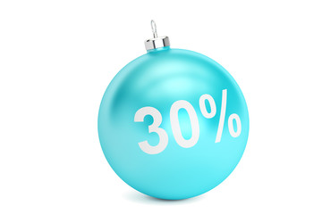 Christmas Sale 30% concept, 3D rendering