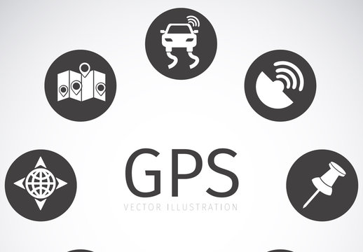 8 Circular Grayscale GPS and Map Icons