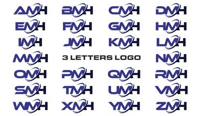 3 letters modern generic swoosh logo AMH, BMH, CMH, DMH, EMH, FMH, GMH, HMH, IMH, JMH, KMH, LMH, MMH, NMH, OMH, PMH, QMH, RMH, SMH, TMH, UMH, VMH, WMH, XMH, YMH, ZMH