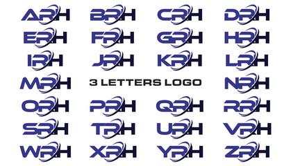 3 letters modern generic swoosh logo ARH, BRH, CRH, DRH, ERH, FRH, GRH, HRH, IRH, JRH, KRH, LRH, MRH, NRH, ORH, PRH, QRH, RRH, SRH, TRH, URH, VRH, WRH, XRH, YRH, ZRH